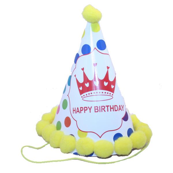 Bogyós parti kalap, happy birthday, fehér, sárga bogyókkal