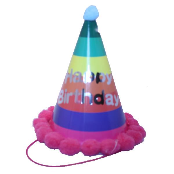 Bogyós parti kalap, happy birthday, szivárvány