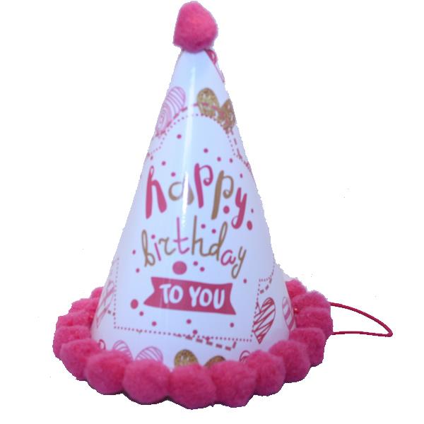 Bogyós parti kalap, happy birthday to you, rózsaszín