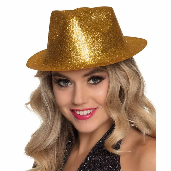 Glitteres úri kalap arany színben