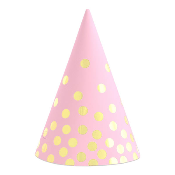 Pink kalap , arany pöttyös, 6 db/cs