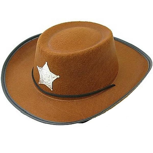 Kalap, cowboy, barna, csillaggal, gyermek méret
