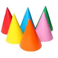 Party csúcsos kalap (egyszínű), 6 db/csomag
