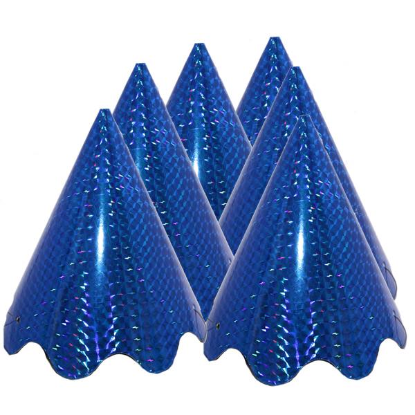 Party hullámos  kalap (Hologramos) kék, 6 db/cs