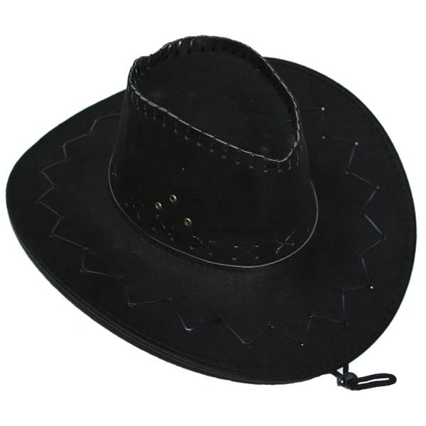 Cowboy, velúr kalap, fekete
