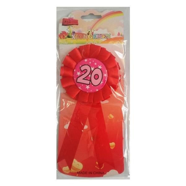 Kitűző, rózsaszín,20. születésnapra, csillagos