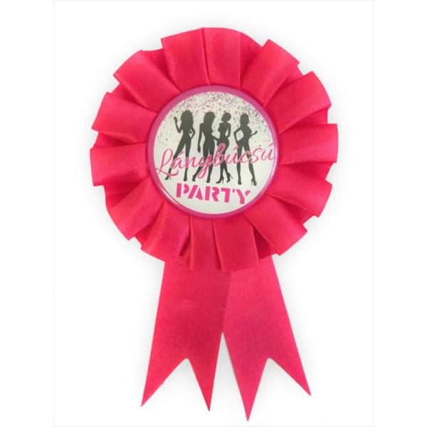 Kitűző, Lánybúcsú Party felirattal, rozettás , magenta