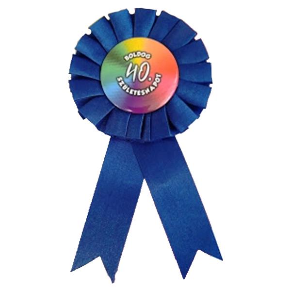 Kitűző, kék, Boldog 40. születésnapot