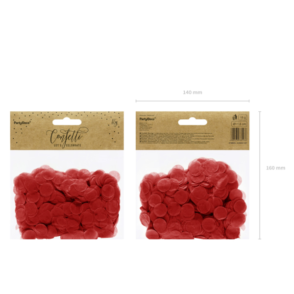 Konfetti 15 g, piros