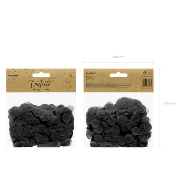 Konfetti 15 g, fekete