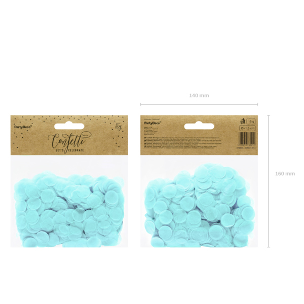 Konfetti 15 g, világos kék