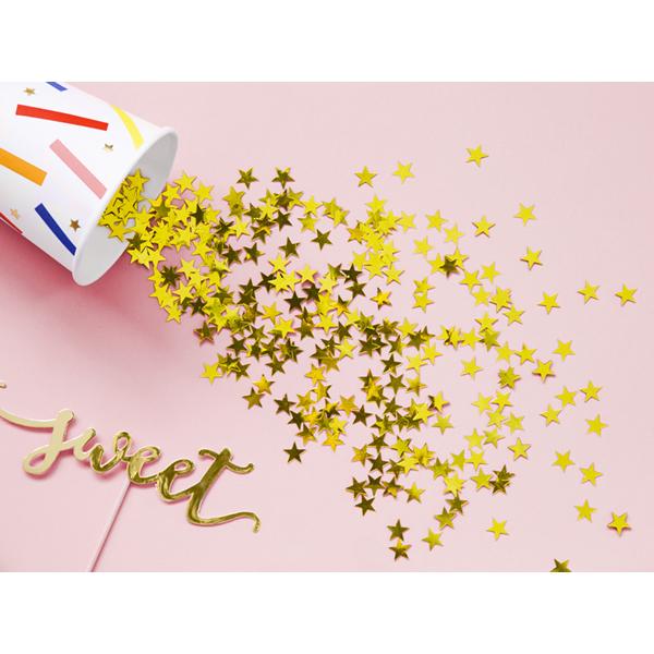 Konfetti, csillag alakú, arany, mérete 1 cm, 30gr