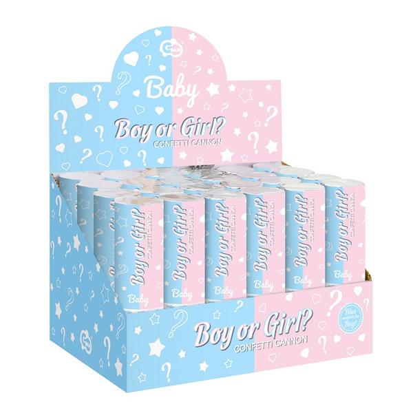 Konfetti kilövő BOY OR GIRL, bébi kék, 15 cm