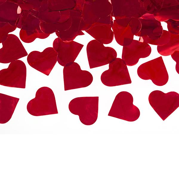 Konfetti kilövő ágyú, piros szív, 40cm