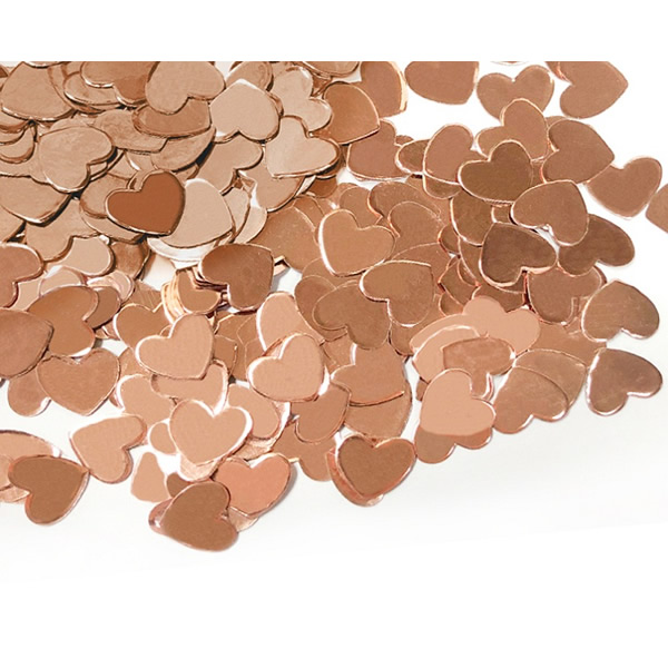 Konfetti, szív forma, rose-gold, 12 gramm