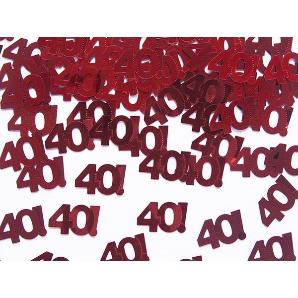 Konfetti, metál piros , 40-es, 15gr/csomag