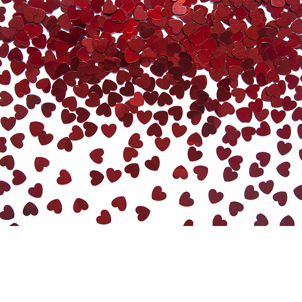 Konfetti, szív forma, piros, 5mm, 30 g