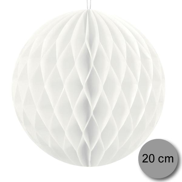 Gömb lampion 20 cm,  fehér