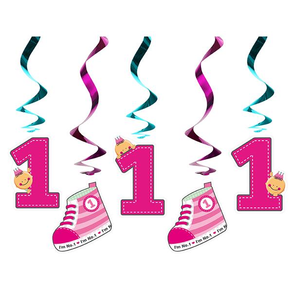 Bébi cipős spirál, pink, 60 cm, 5db/csomag