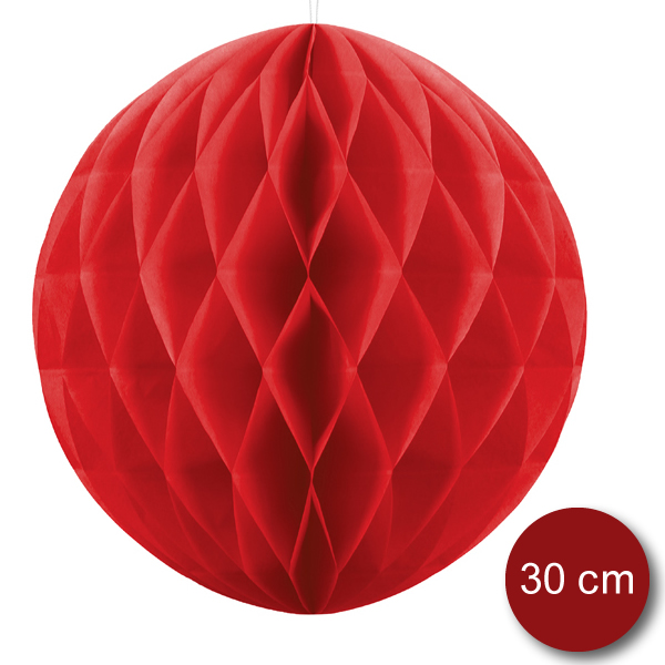 Gömb lampion 30 cm,  piros