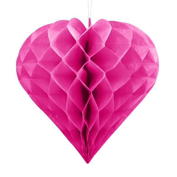 Szív lampion 20 cm,  sötét pink