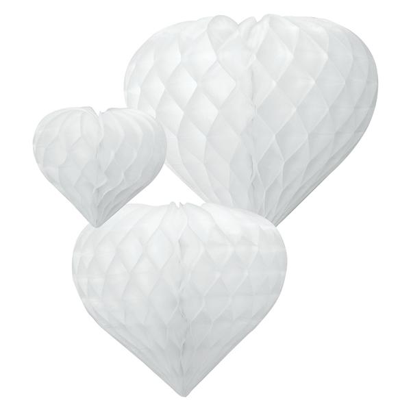 Szív lampion csomag,  fehér, (12cm, 19cm, 26cm)
