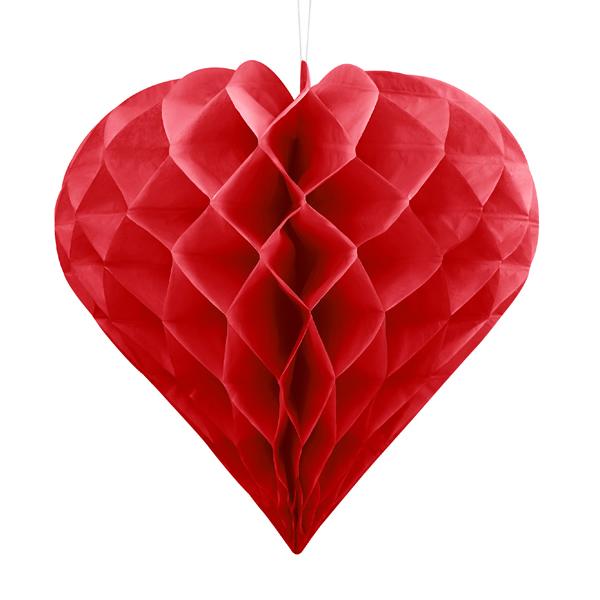 Szív lampion 20 cm, piros