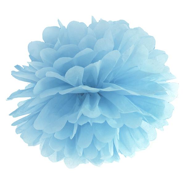 Pompom papír lampion, világos kék, 35cm