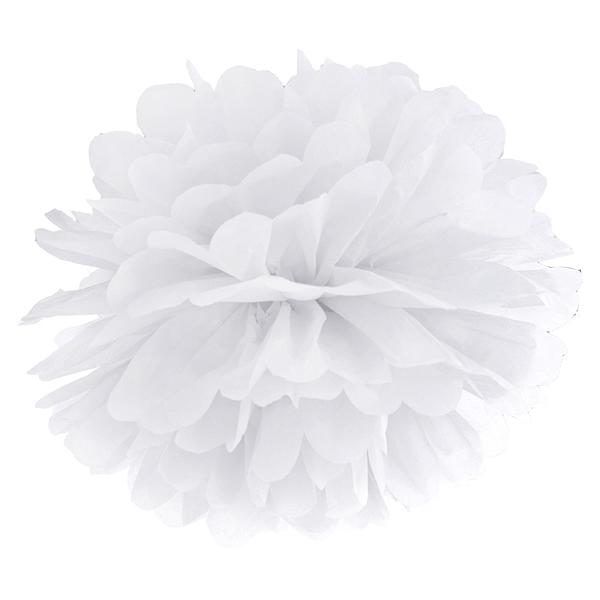 Pompom papír lampion, fehér, 35cm