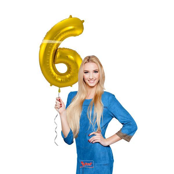 6. szám, fólia lufi, 86 cm, arany