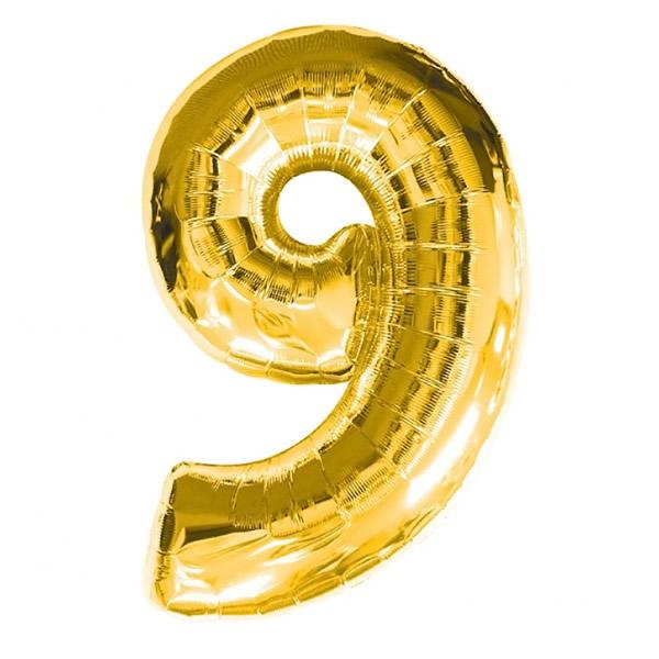 9. szám, fólia lufi, 36 cm, arany