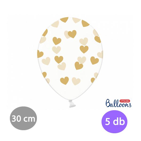 Átlátszó lufi arany szívekkel díszítve, 30cm,  5 db/cs