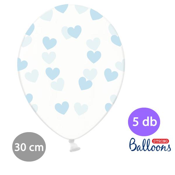 Átlátszó lufi, világos kék szívekkel díszítve, 30cm,  5 db/cs