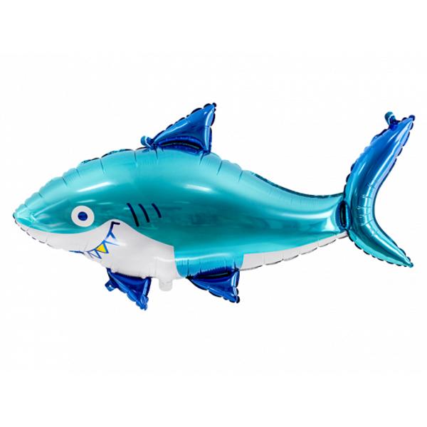 Fényes fólia léggömb cápa, színkeverék,  92 x 48 cm