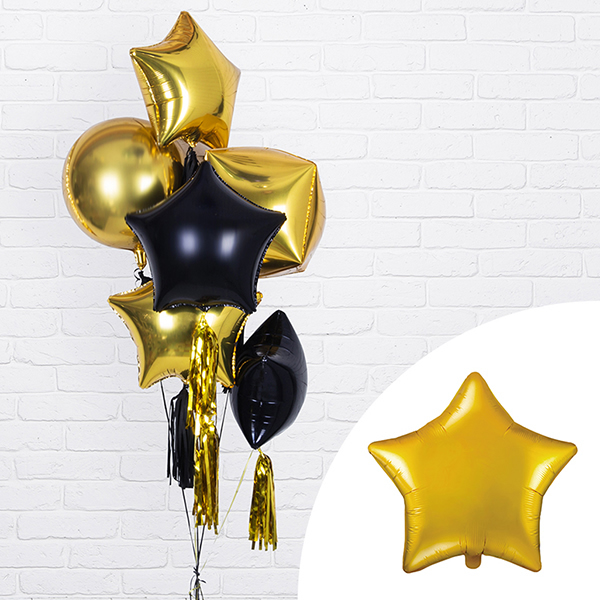 Csillag alakú arany fólia lufi, 19