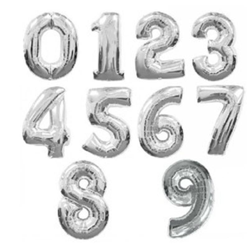 9. szám, fólia lufi, 36 cm, ezüst