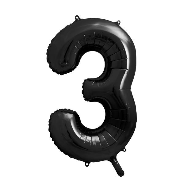 3. szám, fólia lufi, 86 cm, fekete