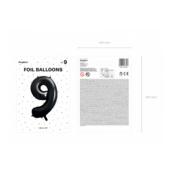9. szám, fólia lufi, 86 cm, fekete
