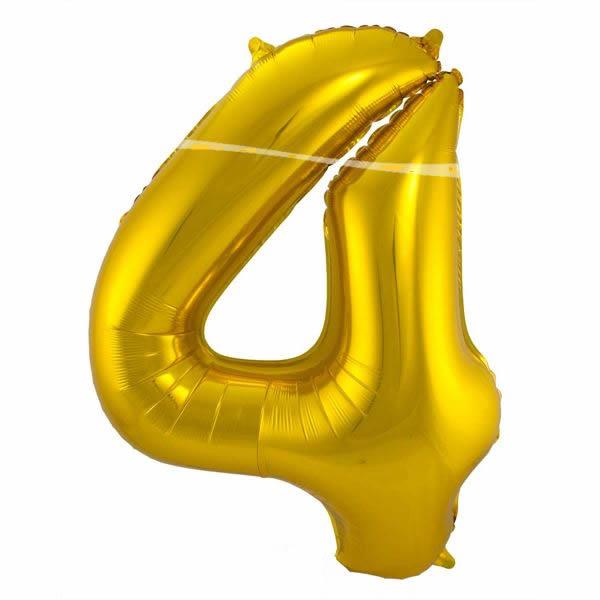 4. szám, fólia lufi, 86 cm, arany