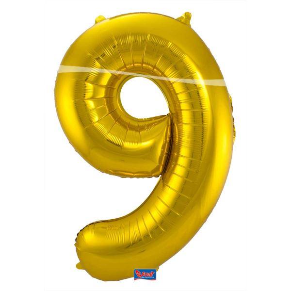 9. szám, fólia lufi, 86 cm, arany