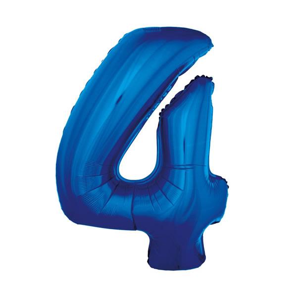 4. szám, fólia lufi, 92 cm, kék