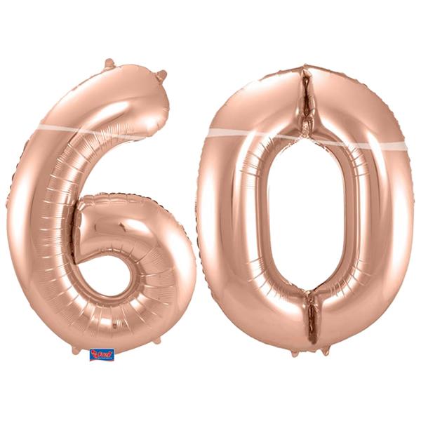 60-as szám, fólia lufi, 86 cm, rosegold