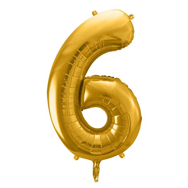 6. szám, fólia lufi, 86 cm, arany, tasakban