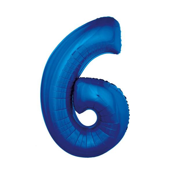 6. szám, fólia lufi, 92 cm, kék