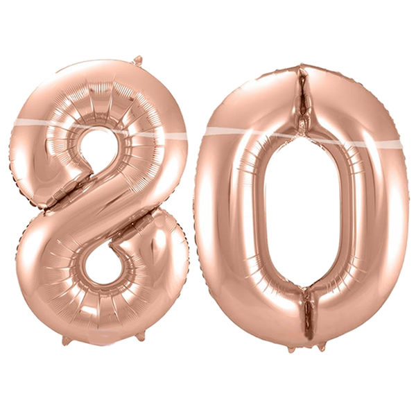 80-as szám, fólia lufi, 86 cm, rosegold