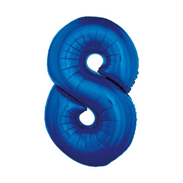 8. szám, fólia lufi, 92 cm, kék