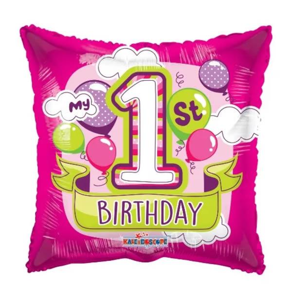 Fólia lufi, párna, 1 éves születésnapra, rózsaszín