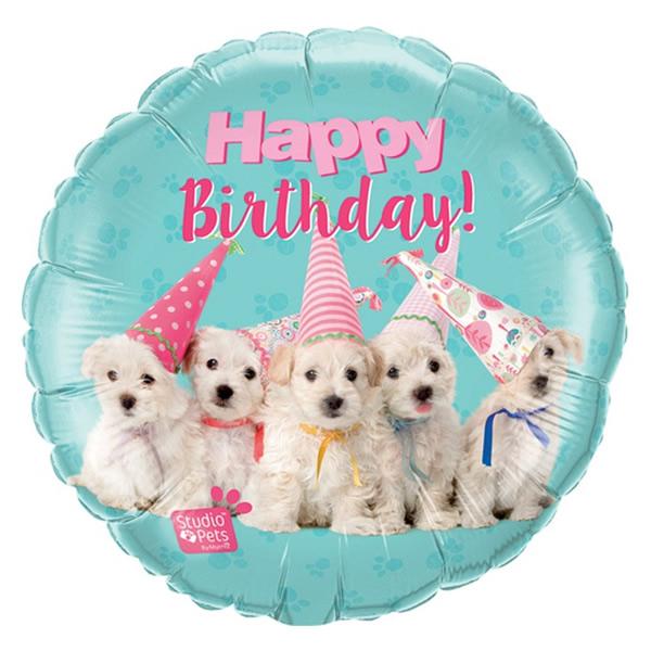 18 inch-es Studio Pets - Birthday Puppies Szülinapi Fólia Lufi