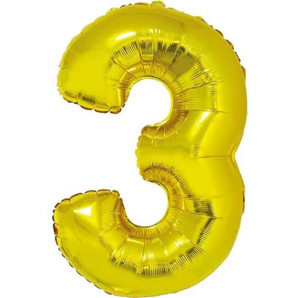 Fólia lufi, 91cm, szám, arany 3-as szám
