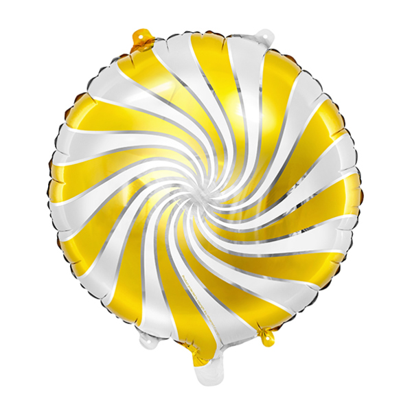 Arany-fehér-ezüst csíkos fólia lufi, 14